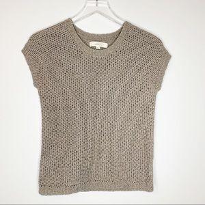 Loft Taupe Open Knit Cap Sleeve Sweater XS